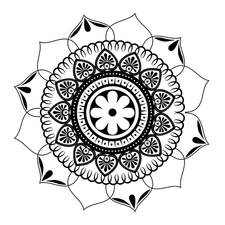 Illustration for monochrome and circular mandala vector illustration design - Royalty Free Image
