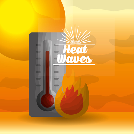 Ilustración de season summer fire with thermometer waves heat sun vector illustration - Imagen libre de derechos