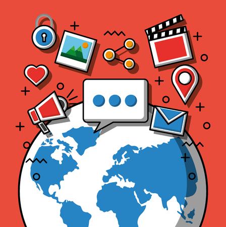 Ilustración de Social media technology devices wolrd with icons media share location photos chat vector illustration - Imagen libre de derechos