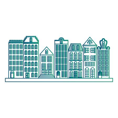 Ilustración de Retro cityscape buildings scene vector illustration design - Imagen libre de derechos