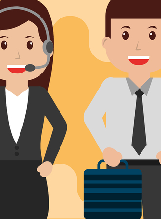 Illustrazione per Operator woman and business man people workers characters vector illustration - Immagini Royalty Free