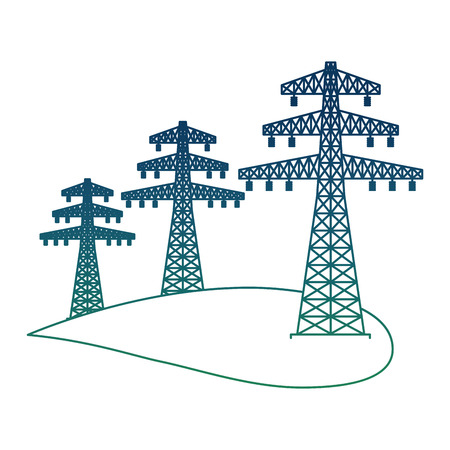 Illustration pour Ecology energy alternative with high voltage power line electricity vector illustration degraded color - image libre de droit