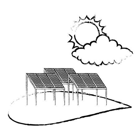 Ilustración de Ecology energy alternative sustatinable solar panel cloud and sun vector illustration sketch - Imagen libre de derechos