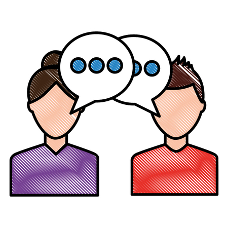 Ilustración de portrait two man talking conversation speech bubble vector illustration drawing - Imagen libre de derechos