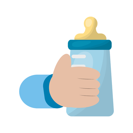 Illustration pour hand with baby milk bottle icon vector illustration design - image libre de droit