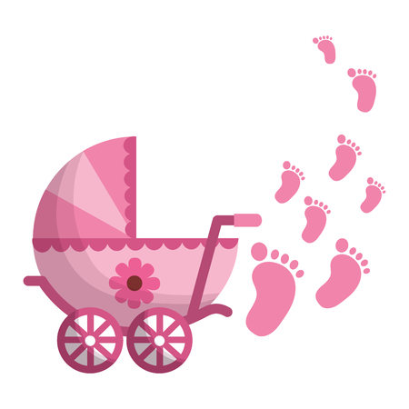 Ilustración de baby cart girl with footprint vector illustration design - Imagen libre de derechos