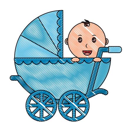 Illustration pour baby boy cart isolated icon vector illustration design - image libre de droit