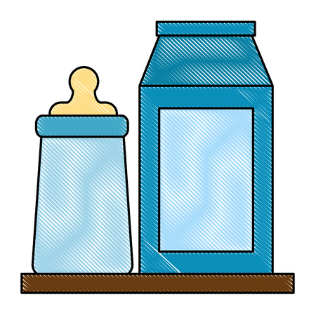 Illustration pour Baby milk bottle and box icon - image libre de droit