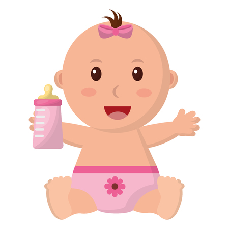 Ilustración de baby girl with diaper and bottle milk in hand vector illustration design - Imagen libre de derechos