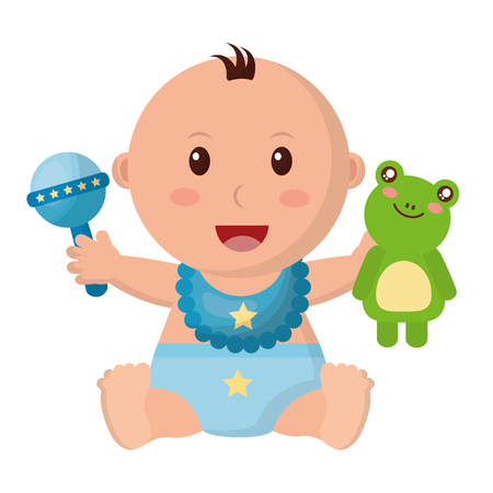 Illustration pour baby boy with diaper and toys vector illustration design - image libre de droit