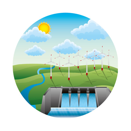 Illustration for hydroelectric dam with landscape vector illustration design - Royalty Free Image