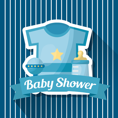 Illustration pour Baby shower card blue stripes clothes rattle bottle milk ribbon vector illustration - image libre de droit