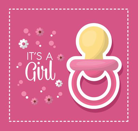 Illustration pour Happy baby shower pink flowers bubbles background big baby pacifier girl born vector illustration - image libre de droit