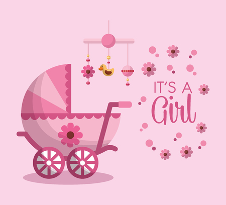 Illustrazione per Happy baby shower welcome girl born pink pram flower hanging mobile background vector illustration - Immagini Royalty Free