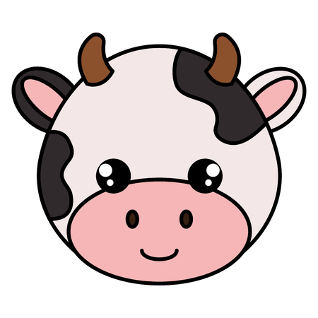 Illustration pour Cow head character icon - image libre de droit