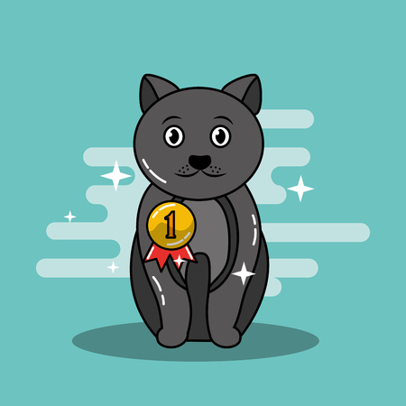 Illustrazione per Adorable sitting gray cat pet with medal champion vector illustration - Immagini Royalty Free