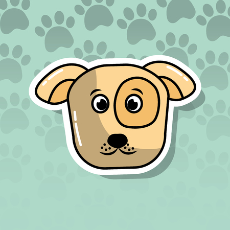 Ilustración de pet dog animal head cartoon with paws print background vector illustration - Imagen libre de derechos