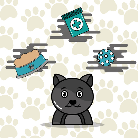 Ilustración de Gray cat cartoon with food toy and medicine vector illustration. - Imagen libre de derechos