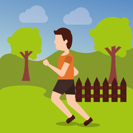 Ilustración de sport man runner training athletic activity in the park vector illustration - Imagen libre de derechos