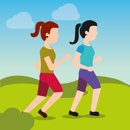 Ilustración de young women walking and running sport activity landscape vector illustration - Imagen libre de derechos