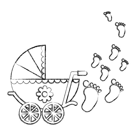 Illustration pour cute pram baby girl newborn footprints vector illustration sketch - image libre de droit