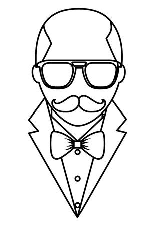 Illustration pour hipster bald man mustache and eyeglasses elegant suit vector illustration outline - image libre de droit