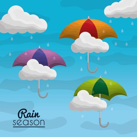 Ilustración de rainy season background with clouds raindrops and umbrellas - Imagen libre de derechos