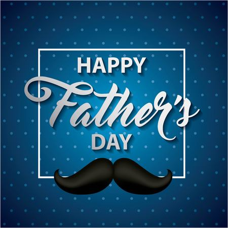 Ilustración de happy fathers day striped blue background sign with black moustache important date vector illustration - Imagen libre de derechos