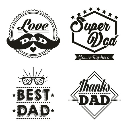 Illustration pour happy fathers day stickers with mustache best dad glasses super hero vector illustration - image libre de droit