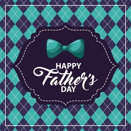 Illustration pour happy fathers day rhombus background blue bowtie label image vector illustration - image libre de droit