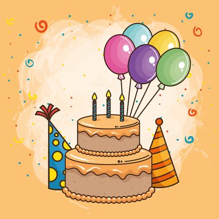 Illustration for happy birthday card with sweet cake vector illustration design - Royalty Free Image