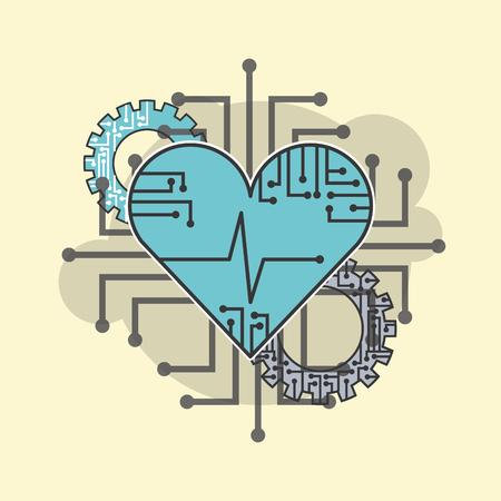 Illustration pour heart beat healthy technology technical vector illustration - image libre de droit