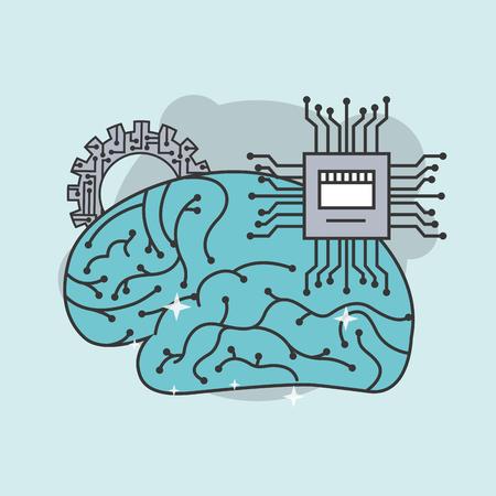Illustration pour artificial intelligence human brain board circuit vector illustration - image libre de droit