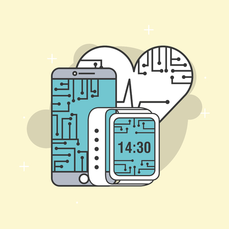 Illustrazione per smartphone wearable technology cpu circuit vector illustration - Immagini Royalty Free