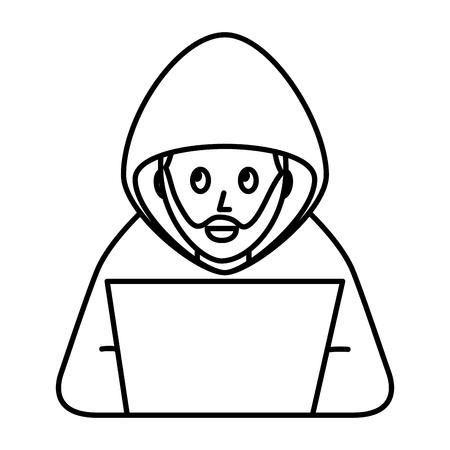 Illustrazione per cyber security hacker beard character crime laptop computer vector illustration outline - Immagini Royalty Free