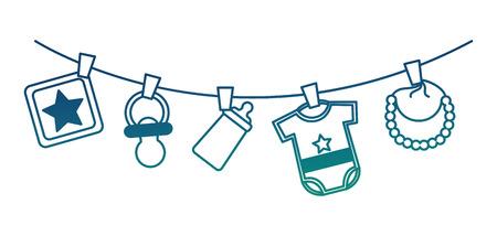 Ilustración de baby shower boy clothes bib pacifier bottle hanging decoration vector illustration degraded color - Imagen libre de derechos