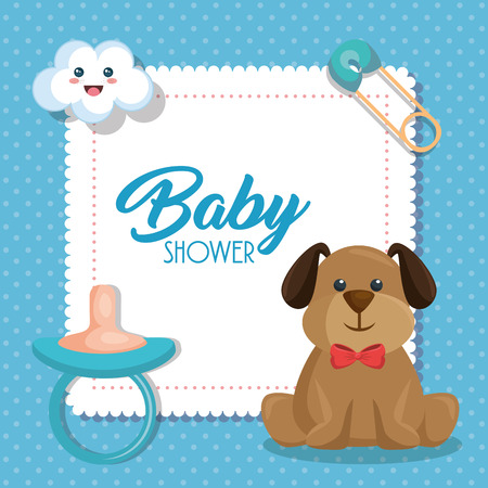 Illustration pour Baby shower card with cute dog vector illustration design - image libre de droit