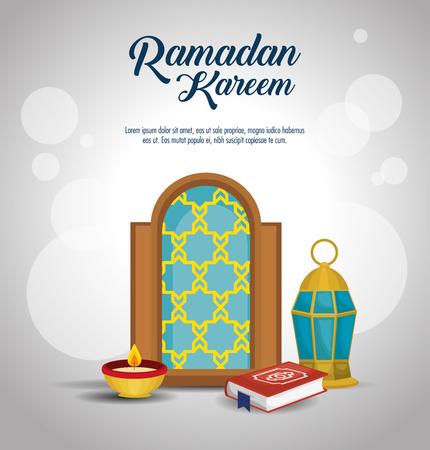Illustration for Ramadan Kareem card with set icons vector illustration design. - Royalty Free Image