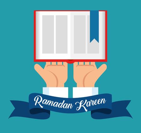 Illustration for ramadan kareem card with sacred book vector illustration design - Royalty Free Image