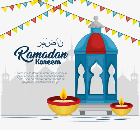 Illustration for ramadan kareem card with set icons vector illustration design - Royalty Free Image