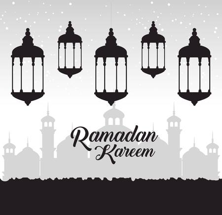 Illustration for Ramadan kareem card with lanterns hanging vector illustration design. - Royalty Free Image