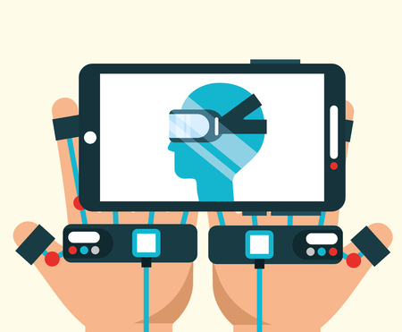 Illustration pour hand with wired gloves with smartphone virtual reality vector illustration - image libre de droit