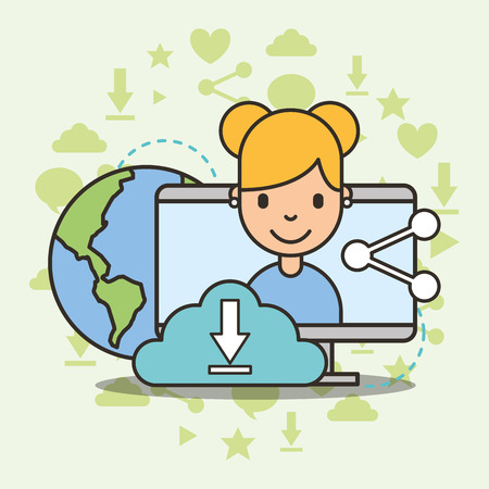 Ilustración de cute girl on computer screen cloud computing share world social media vector illustration - Imagen libre de derechos