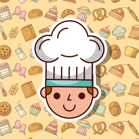 Ilustración de Cute face of a boy with chef's hat on bakery dessert background vector illustration - Imagen libre de derechos