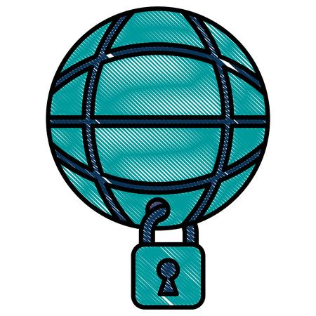Illustration pour cyber security global connection technology vector illustration - image libre de droit