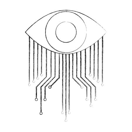 Illustration pour cyber security eye surveillance image vector illustration - image libre de droit
