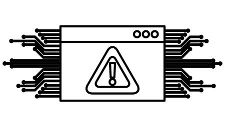 Ilustración de template webpage with alert sign and circuit vector illustration design - Imagen libre de derechos