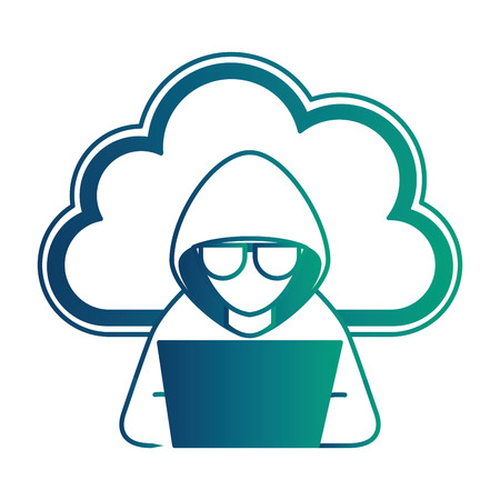 Illustrazione per cloud computing with hacker character vector illustration design - Immagini Royalty Free
