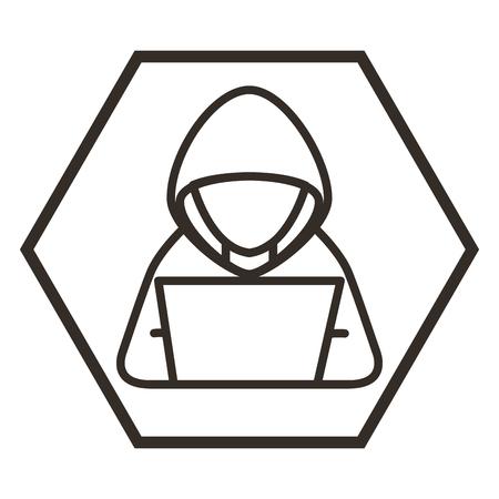 Illustrazione per hacker with laptop character vector illustration design - Immagini Royalty Free