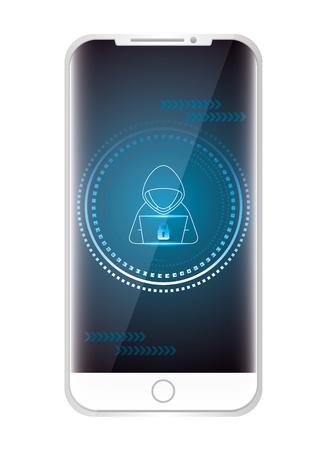 Illustrazione per Cellphone with hacker character vector illustration design - Immagini Royalty Free